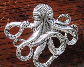 Octopus Drawer knobs - Octopus Cabinet Knobs - Nautical Drawer Knobs - Kraken Knobs - Kraken Drawer Knobs in Silver Metal (MK103)