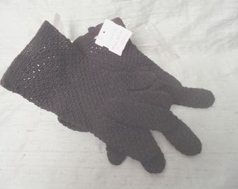 Black cotton crocheted wrist length mesh gloves / unused
