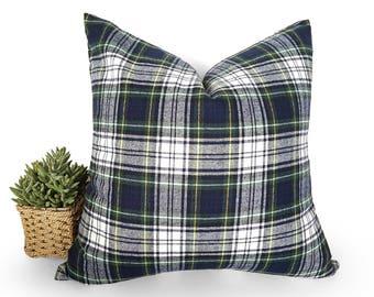 Rustic Pillows, Wool Plaid Pillows, Tartan Pillows, Christmas Pillows, Blue Green White, Plaid Cushion Cover Gordon Dress Tartan, All Sizes