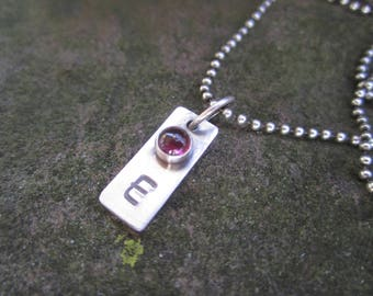 Sterling Silver Birthstone with Initial Necklace