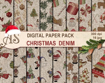 Digital Christmas Denim Paper Pack, 16 printable Digital Scrapbooking papers, Digital Collage, new year fabric, Instant Download, set 241
