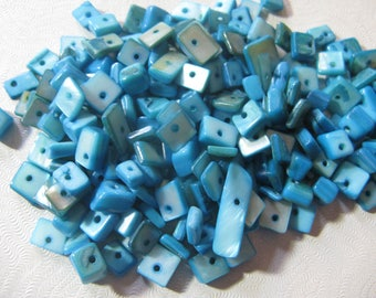 Pearl Shell Blue Turquoise Gemstone Bead Chips about 200 Beads 6 to 8mm