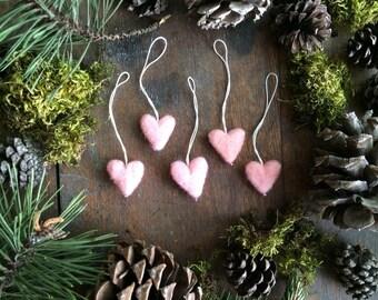 Felt heart ornaments, set of 5, Light Pink, miniature pink wool heart ornaments for christmas tree, valentine decor, valentine gift under 30