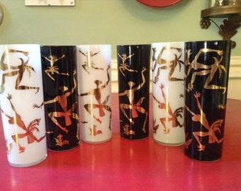 1950s Drinking Glasses  / African Dancers Black, Gold, White Vintage Glasses / Mid Century Barware / Set 6 Glasses