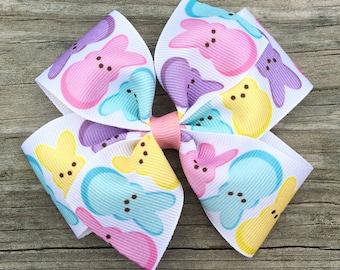Peep Hair Bow, Marshmallow Bunny Bow, Easter Hair Bow, Marshmallow Peep Bow, Peep Hair Clip, Easter Hair Bows, Easter Hair Clip, Toddler Bow