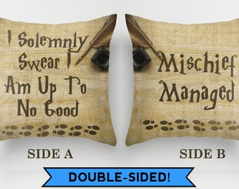 Harry Potter pillow, Harry Potter cushion, Marauder Map, Mischief Managed, Solemnly Swear, Harry Potter gift, home decor, beige, book lover