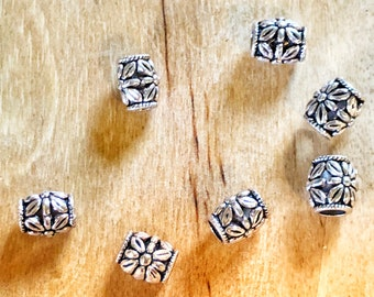 Tibetan European style beads, jewelry making beads, silver antique beads, barrel beads, 10 per pack