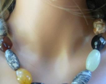 Multi-colored Jasper and Agate Necklace