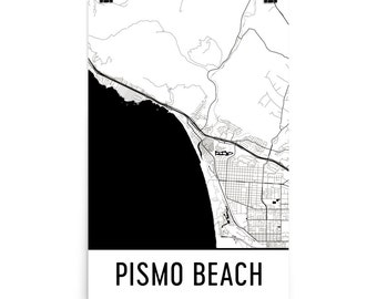 Pismo Beach Map, Pismo Beach Art, Pismo Beach Print, Pismo Beach CA Poster, Pismo Beach Wall Art, Map of Pismo Beach, Pismo Beach Gift Decor