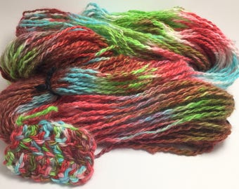 "Hand-Spun 100% Wool Yarn ""Halleluia"" Hand-Washed, Carded, Spun and Painted, 2 ply, Knit, Crochet, Weave, Worsted/Bulky, Wound FREE 154 yds"