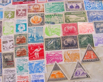 Isthmus Be Love 50 Vintage Nicaraguan Postage Stamps Republic of Nicaragua Central America Managua Hispanic Latina Latin American Philately