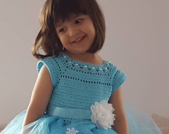 elsa dress, elsa tutu dress, crochet tutu dress, frozen dress, ,princss dress, birthday dress