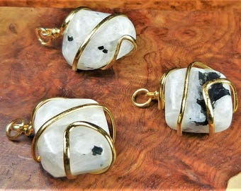Moonstone Necklace - Tumbled Gemstone Pendant - Gold Wire Wrapped Polished Crystal Earrings (BB15) Healing Crystals Natural Stone Jewelry