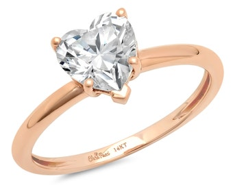 Pop The Question, Question Pop The, The Pop Question, Pop Question, 1.30 Ct Simulated Heart Band Solitaire Engagement Rings 14k Rose Gold