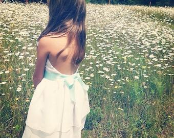 Chiffon Flower Girl Dress with ribbon - White dress - Toddler chiffon dress - Special Occasion dress - Toddler
