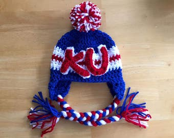 KU Hat, University of Kansas hat for baby, KU baby hat, newborn to 12 month sizes available, newborn hat, newborn baby hat
