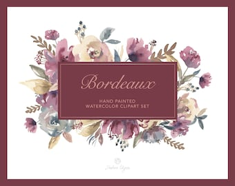 Watercolor Floral Clip Art - Bordeaux - Burgundy, Navy, Cream | Wedding Clipart | Marsala