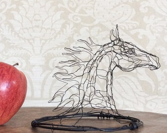 4in Wire Sculpture Horse Head by Elizabeth Berrien
