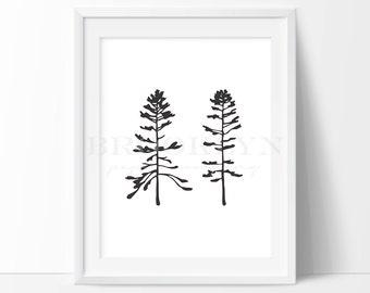 Trees Print, Woodland Themed Tree Print, Nature Inspired Nursery Art Print, Nature Wall Decor, Minimalist Home Decor, Wall Art, Not Framed