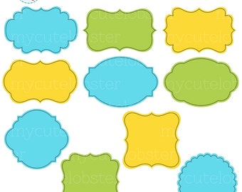 Frames Clipart Set - blue, green, yellow - clip art set of frames, digital frames - personal use, small commercial use, instant download