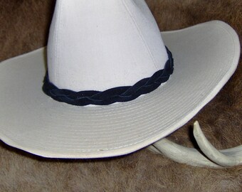 Custom made! Colored Braided Leather Hat-Band,  One Piece Genuine Cowhide Leather Braided