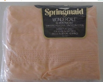"""On Sale Springmaid Wondercale, Queen Flat Sheet, """"Peignoir Pastels"""", Orange Sherbet, Polyester/Cotton, Vintage and Brand NEW Sealed"""