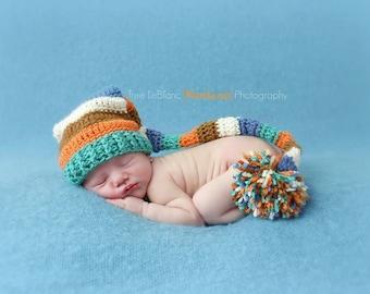 Harvest Elf Hat - Baby Stocking Hat - Elf Hat - Baby Boy Prop Hat - Long Pom pom Hat - Photography Props - Autumn Colors ~ Newborn Props