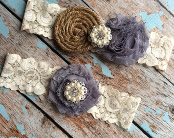 GREY  & Burlap garter /wedding garter / bridal  garter /  garter / barn rustic wedding garter / vintage inspired lace garter