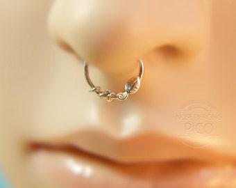 Leaf Septum Ring/nose ring, sterling silver septum ring, 16 gauge,18 gauge,20 gauge, septum,helix,cartilage earring