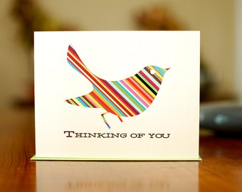 Rainbow Striped Bird Thinking of You Card - 100% Recycled Paper