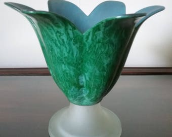 Glass flower vase vinegar painted in green