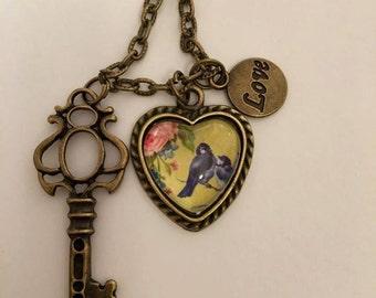 "Antiqued ""love birds"" necklace"