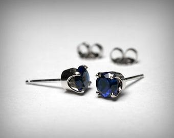 Sapphire Earrings Studs, 14K Created Sapphire Stud Earrings, 14K Yellow or White Gold, 14K Sapphire Jewelry, September Birthstone, Earrings