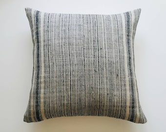 Navy Stripe Homespun Minimalist Pillow Cover - Stripe Modern Minimal Accent Pillow - Vintage Hmong Pillow