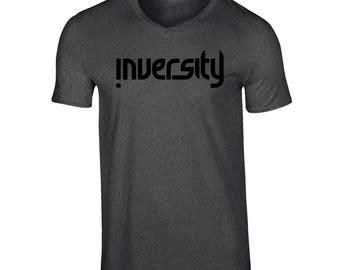 Inversity V-neck Charcoal- Black Logo