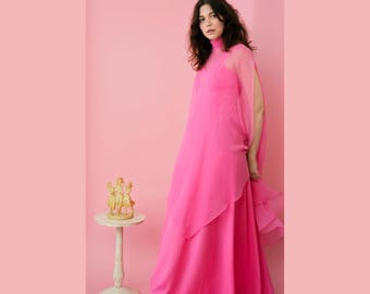 vintage 70s hot pink maxi dress with sheer cape