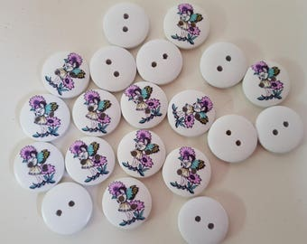 Set of 10 buttons in wood pattern with fairies