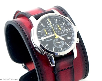 Leather Cuff Watch - Tissot PRC 200 - Red And Black