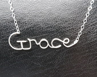 Name Pendant Grace Sterling Silver Custom Wire Word Initial Necklace Designer in UK
