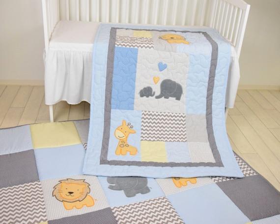 Baby Blue Blanket  Elephant Boy Quilt,   Crib  Safari Bedding, Yellow Giraffe, Lion Gray  Blue Baby Blanket,