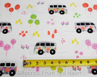 Hit the Road Flower VW Vans Happy on White BY YARDS Michael Miller Fabric