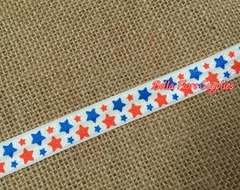 Red Blue Stars Fold Over Elastic- Stars FOE- 4th of July FOE- Fold Over Elastic- Wholesale Elastic- DIY Headband-   By The Yard