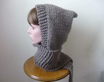 Hooded Scarf Chunky Knit Scoodie Teen Adult Warm Hooded Scarf - Taupe - Ready to Ship - Direct Checkout - Gift for Her