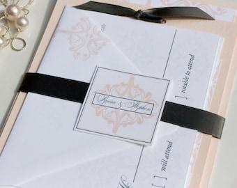 Blush Damask Wedding Invitation Deposit