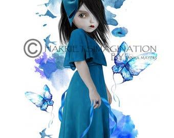 Big Eyes Art | Digital Painting | Wall Decor | Big Eyed Girl Art | Blue Print | Watercolor Art | Big eyes | Blue Butterflies | Bluebell