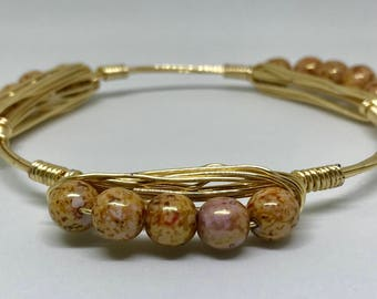 Bronze Beaded Wire Wrap Bracelet