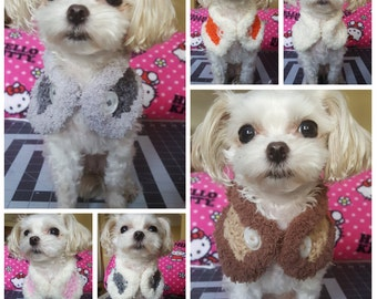 Crocheted Puppy neck warmer, dog neck warmer, small dog  scarf Choose from 6 colors, Fits most Small Breed Dogs