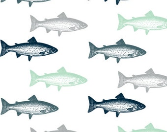 Fish Contour Changing Pad Cover - Trout, Fishing, Navy, Gray, Mint, Brown, Tan
