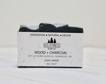 Wood + Charcoal Soap, Natural Soap, Vegan Soap, Palm Free Soap, Handmade Soap, Cold Process Soap