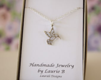 Hummingbird Charm Necklace, Friendship Gift, Sterling Silver, Bestie Gift, Bird Necklace, Thank you card, Nature, Hummingbird